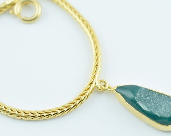 AAA 1 Piece Natural Window Druzy Bracelet,Dainty Bracelet,Green druzy bracelet,Agate Druzy,24k Gold Filled Chain,Free Shipping Jewelry LE056