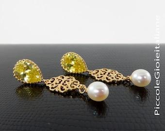 Modern AAA Pearl Earrings Earrings Pearl Earrings earrings with cubic zirconia Earrings Gold Earrings Earrings elegant ceremony
