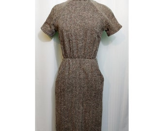 Sue Brett Junior Dress Brown Wool Tweed With Pockets