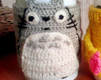 Totoro mug cozy , Gray  Crochet Cup Cozy ,  cartoon character  totoro- anime , My Neighbor Totoro ,  mug sweater , Christmas gift ideas
