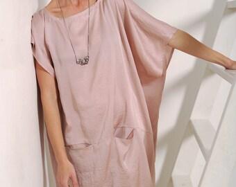 Women's dress, blush dress, pink dress, oversized dress, silk dress, women's silk dress, silk blush dress, women's tunic, women's gown