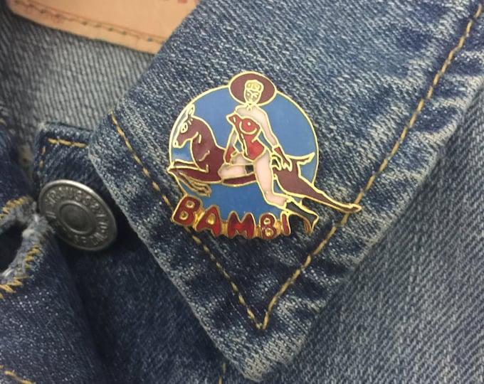 """Vintage """"Bambi"""" pinup girl enamel lapel pin (stock# 459)"""