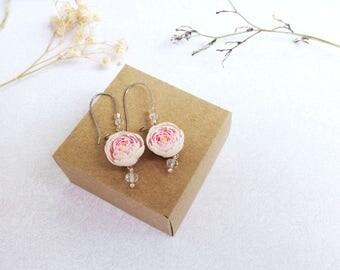 Peony earrings Pink peony dangle flower earrings Peony jewelry Pink floral earrings Weddind bridal earrings Romantic earrings Peony flower