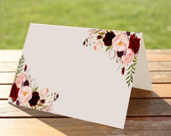 Marsala Floral Blank Place Tent Card Foldable Blank Escort Card Folded Tent One Side Cards Seating Table Wedding Reception Card - WS017
