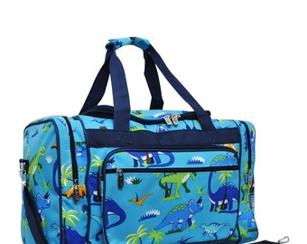 Personalized Dinosaur Duffel-Monogram Duffle-Personalized Duffle-Personalized Overnight Bag-Embroidered Duffle
