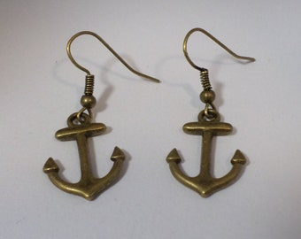 Anchor earrings bronze