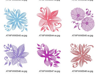 Rippled-Flowers. ( 10 Machine Embroidery Designs from ATW )
