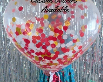 Confetti Heart Proposal Balloon - FREE POSTAGE - Jumbo 90cm Heart Balloon with Fringe Tail Party Decoration!