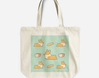 "Loaf Corgi Canvas Tote Bag | Sturdy Canvas 13x14"" with Inside Pocket & 10"" Straps 