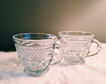 Pair of Vintage Cut-Glass Coffee Mugs / Glass Espresso Mugs