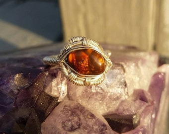 Fire Agate in Sterling Silver Wire Wrapped Ring size 6.5