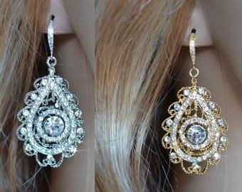 Silver or Gold Dramatic Vintage Inspired Art Deco Crystal Rhinestone Filigree Chandelier Earrings, Bridal, Wedding (Sparkle-2120)