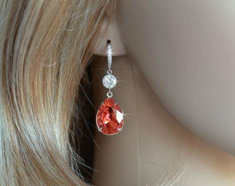 Handmade Coral Swarovski Padparadscha Pear Crystal Dangle Earrings, Bridal, Wedding (Sparkle-2645)