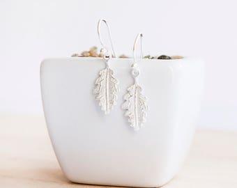 Megan Silver Oak Leaf Earrings, Sterling Silver, Oak Leaf Drop Earrings, Dangle Earrings, Leaf Jewelry, Silver Leaf Jewelry. Silver Oak Leaf