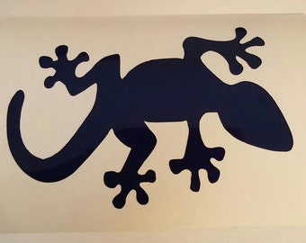 Gecko lizzard Decal. Permanent decals. Put on yeti & Rtic cups, car windows, laptops... Decal only.