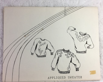 Great Copy Sewing Pattern Appliqued Sweater Bust Size 31-45 / all sizes included / for sewing machine or serger / ladies' sweatshirt