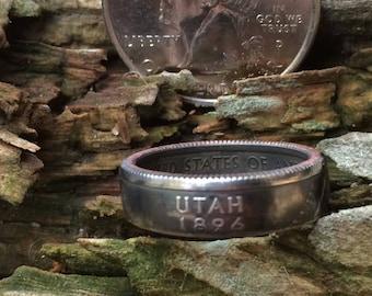 Utah state quarter coin ring
