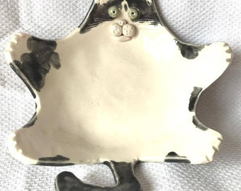Customised Cat Soap/Trinket Dish - Made to Order - Ceramic Pottery