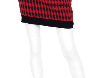 Oliver by Valentino Early 1990's Vintage Red & Black Harlequin Wool Velvet Trim Mini Skirt Sz XS