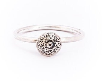 Designer Sterling Silver Dome Ring With Etched Dome (3550010)