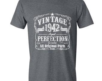 75th Birthday, 1942 Birthday, 1942 Gift for Him. Men's Tshirt, 75th Birthday Gift, 75th Birthday Idea, 75 Birthday Present, 75 GRAY 1942