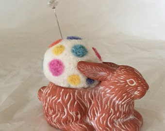 Needle Felted Pincushion in Terra Cotta Bunny Rabbit, white needle felted pincushion with rainbow dots, 2.25 inches tall