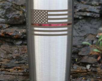 Thin Red Line Engraved Drinkware -Personalization Available