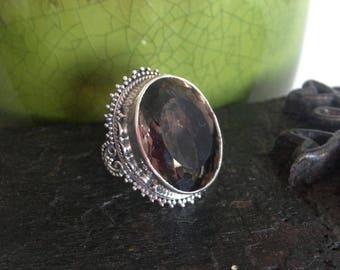 Smokey Quartz Sterling Silver Ring