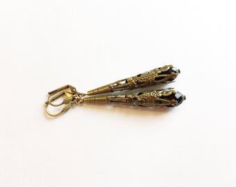 Jet Black Earrings, Jet Earrings, Jet Black Jewelry, Jet Jewelry, Black Earrings, Black Jewelry, Victorian Earrings, Victorian Jewelry