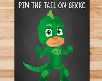 PJ Masks Pin the Tail Game Gekko - Green Chalkboard - Boy PJ Masks Game - PJ Masks Birthday Boy Party - Pj Masks Printable Party Game