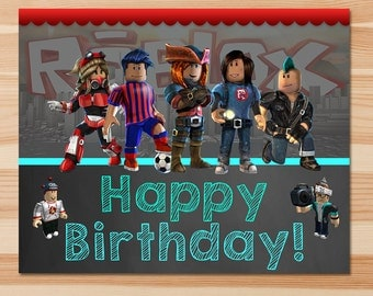 Roblox  Happy Birthday Sign - Chalkboard - Roblox Birthday Banner - Roblox Birthday Party - Roblox Party Favors - Roblox Printable Sign