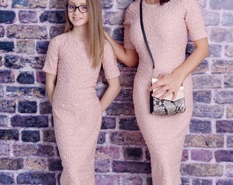 Mother Daughter Matching Dress, Mommy And Me Dress, Pink Dress, Matching Mother And Daughter Outfit, Elegant Dress, Party Dress, Romantic