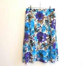 Turquoise White Purple Skirt Floral Print Skirt Midi Skirt Elastic Waist Skirt Summer Skirt Medium to Large Size
