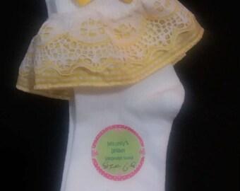 Meloney's Design handmade girls yellow and white socks