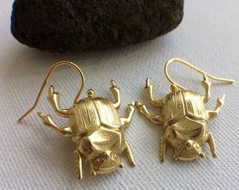 Gold Beetle Earrings, Beetle Earrings, Insect Earrings, Insect Jewelry, Bug Earrings, Bug Jewelry, Creepy Jewelry, Creepy Earrings, Unique