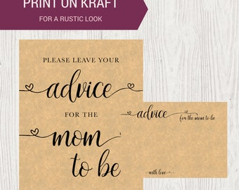 DIY PRINTABLE Advice for Mom to Be Sign and Advice Cards | Instant Download Baby Shower Printable | Mommy to Be OB14