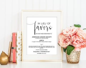 SALE In lieu of Favors, Favors Sign, Wedding Donation Sign, Favors Donation, Editable sign template, Wedding Sign Printable, Reception Sign