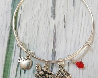 Snow White Inspired Bracelet, Princess Bracelet, Fantasy Jewelry, Fairytale Jewelry, Poison Apple Jewelry, Gifts for Women, Free Shipping