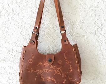 Vintage Brown Tooled Leather Purse Satchel Handbag Boho Hippie Festival Bohemian Shoulder Bag