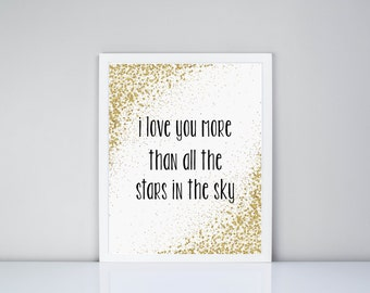 I love you more than all the stars in the sky Printable // Instant Download // Nursery // Baby decor // Baby Room Decor // Printables