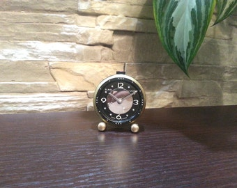 Alarm clock for the blind Small black alarm clock Mechanical watch Slava Soviet vintage clock Working wind up clock Open dial alarm clock
