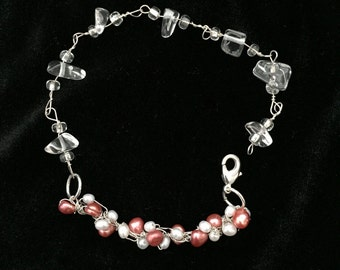 Adjustable Pink and White Beaded Wire Bracelet