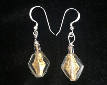 Gold Glass Diamond Shaped Dangle Earrings