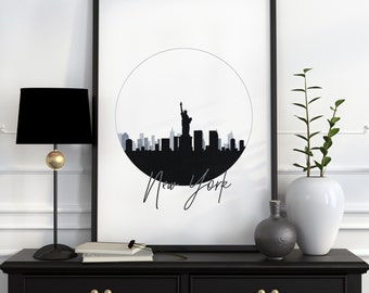 New York Print New York Gifts New York Skyline Art New York Skyline Print New York City Print City Skyline City Art New York Silhouette