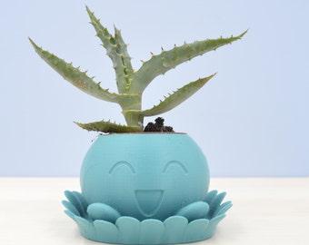 Oddish Planter/planter with saucer/3D planter/Aqua air plant/Pokemon planter/indoor planter/saucer and drainage/Mini planter/cactus planter