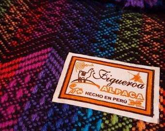 Alpaca Wool Rainbow Chevron Striped Shawl (Peru)