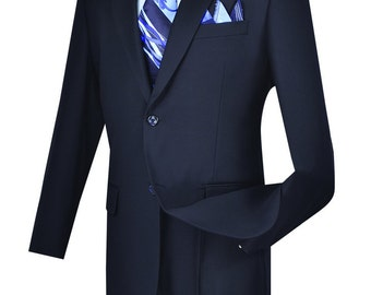 Navy Classic-fit men's suit 2 bottons solid suit new with tag