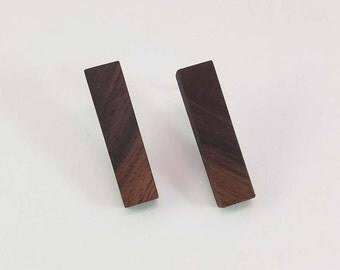 Rectangle Black Walnut Wood Stud Earrings