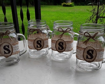 Rustic Wedding Favor - Rustic Wedding Decor - Adult Party Favor - Drinking Jars Gift - Set of 4