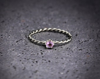 3mm Amethyst Twist Ring, Tiny Twist Ring, Amethyst Dainty Ring, Tiny Ring, Amethyst Ring, Stacking Ring, Women Amethyst Ring, Gift for Women